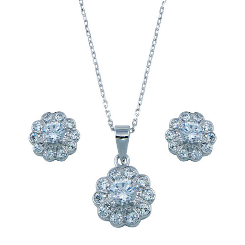 Wholesale Sterling Silver 925 Rhodium Plated Clear Flower CZ Set - BGS00027