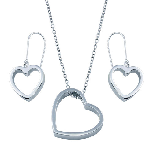 Wholesale Sterling Silver 925 Rhodium Plated Open Heart Hook Earring and Necklace Set - BGS00035