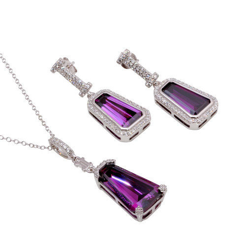 Wholesale Sterling Silver 925 Rhodium Plated Large Purple CZ Stone Earring and Necklace Set - BGS00531