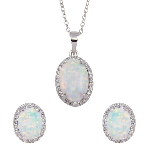Wholesale Sterling Silver 925 Rhodium Plated Oval Synthetic Opal Set with CZ - BGS00574