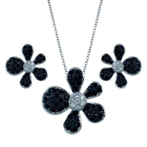 Wholesale Sterling Silver 925 Rhodium and Black Rhodium Plated Black and Clear Pave Flower CZ Set - BGS00079
