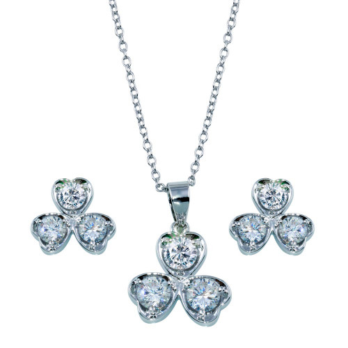 Wholesale Sterling Silver 925 Rhodium Plated Clear Clover Leaf CZ Matching Set - BGS00104