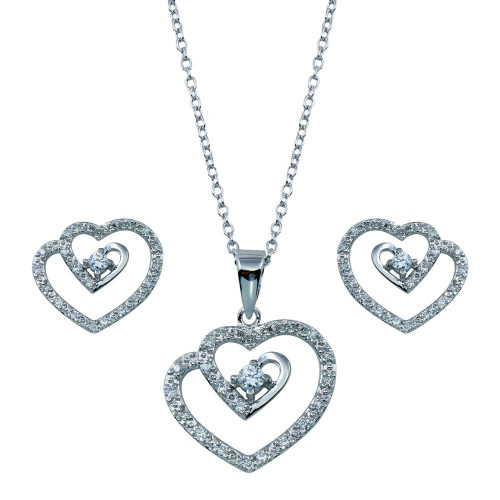 Wholesale Sterling Silver 925 Rhodium Plated Swirl Open Heart Clear CZ Dangling Matching Set - BGS00106