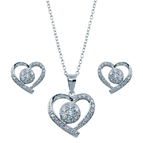 Wholesale Sterling Silver 925 Rhodium Plated Open Heart Clear Outline CZ Matching Set - BGS00107