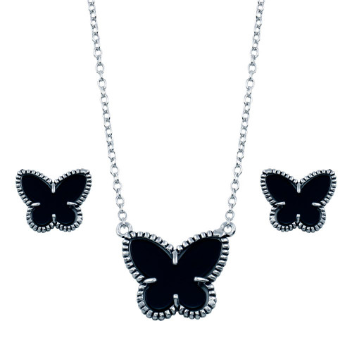 Wholesale Sterling Silver 925 Rhodium Plated Black Onyx Mini Butterfly Matching Set - BGS00111