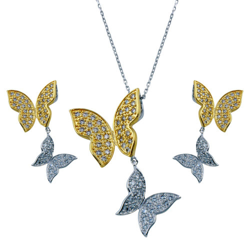 Wholesale Sterling Silver 925 Rhodium and Gold Plated Clear Butterfly CZ Dangling Matching Set - BGS00130