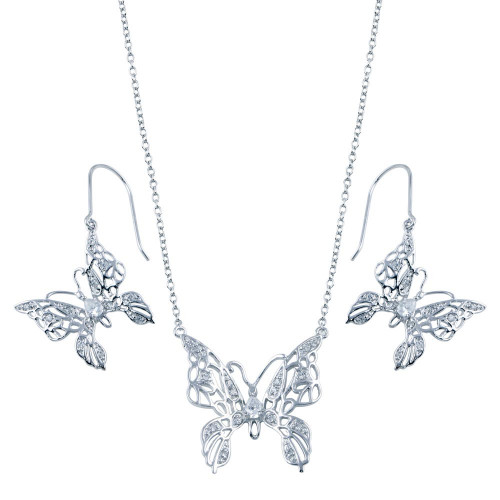 Wholesale Sterling Silver 925 Rhodium Plated Clear Filigree Butterfly CZ Hook Set - BGS00131
