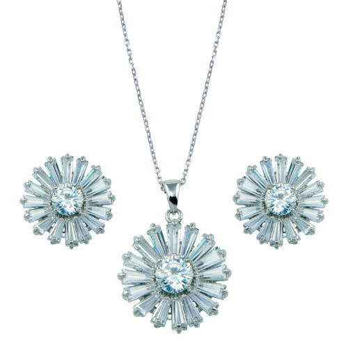 Wholesale Sterling Silver 925 Rhodium Plated Clear Baguette Flower CZ Set - BGS00140