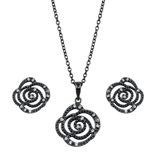 Wholesale Sterling Silver 925 Black Rhodium Plated Open Flower Rose Clear CZ Set - BGS00146