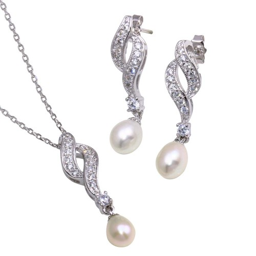 Wholesale Sterling Silver 925 Rhodium Plated Fresh Water Pearl Twist Clear CZ Hanging Set - BGS00151