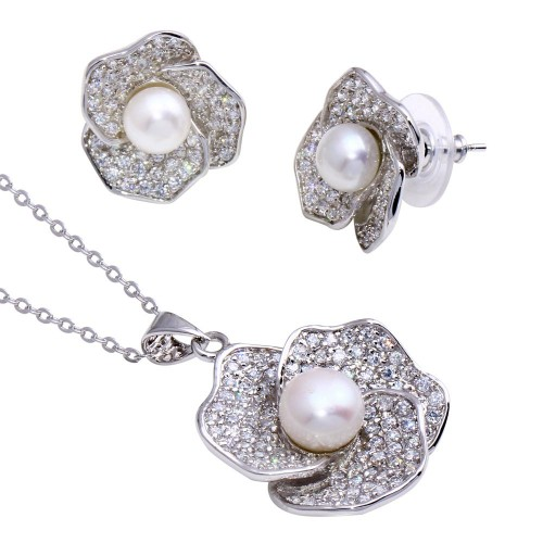 Wholesale Sterling Silver 925 Rhodium Plated Flower Fresh Water Pearl CZ Set - BGS00208