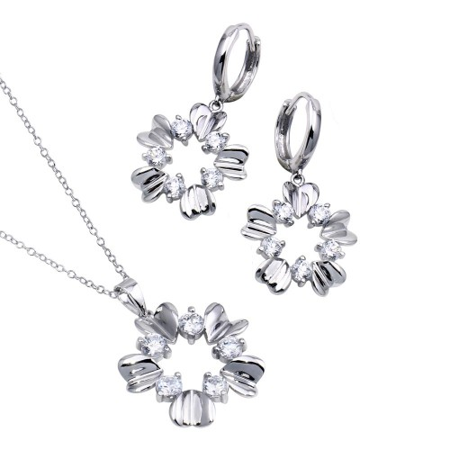 Wholesale Sterling Silver 925 Rhodium Plated High Polish Flower Clear CZ Leverback Earring and Necklace Set - BGS00209