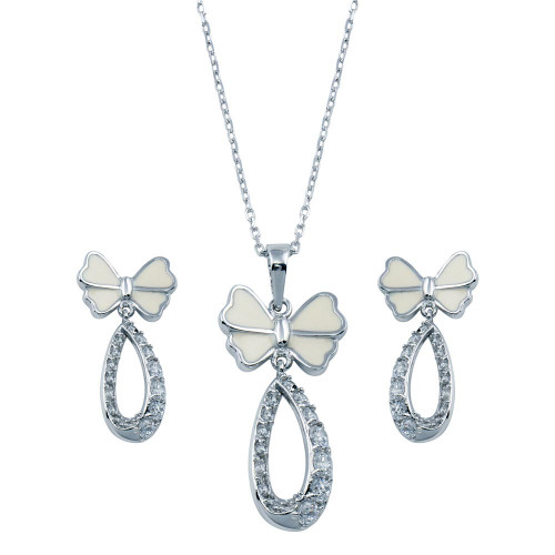Wholesale Sterling Silver 925 Rhodium Plated Open Butterfly Teardrop Clear CZ Hanging Set - BGS00216