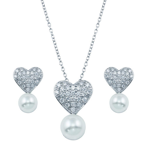 Wholesale Sterling Silver 925 Rhodium Plated Pearl Clear Heart CZ Hanging Set - BGS00217
