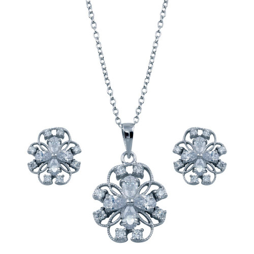 Wholesale Sterling Silver 925 Rhodium Plated Flower Outline Clear CZ Set - BGS00224