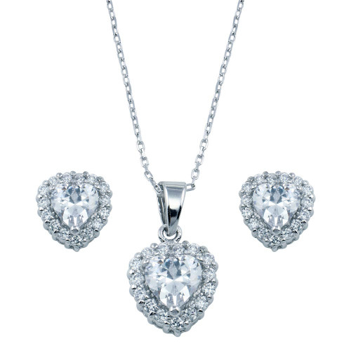 Wholesale Sterling Silver 925 Rhodium Plated Heart Clear CZ Set - BGS00228