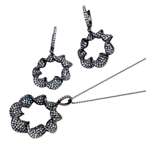 Wholesale Sterling Silver 925 Rhodium Plated Clear Drop CZ Hanging Stud Earring and Hanging Necklace Set - BGS00289