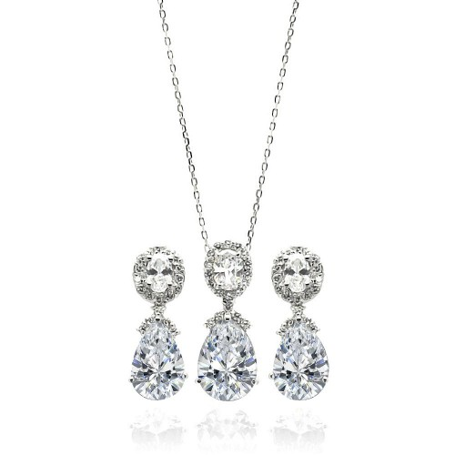 Wholesale Sterling Silver 925 Rhodium Plated Clear Round and Teardrop CZ Dangling Set - BGS00297
