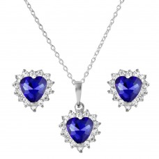 Wholesale Sterling Silver 925 Rhodium Plated Round and Heart Shaped Clear and Blue CZ Dangling Stud Earrings and Necklace Set - BGS00323