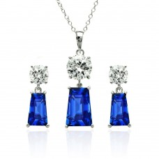 Wholesale Sterling Silver 925 Rhodium Plated Clear Round Blue Rectangular CZ Dangling Stud Earring and Dangling Necklace Set - BGS00346