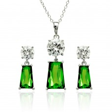 Wholesale Sterling Silver 925 Rhodium Plated Clear Round Green Rectangular CZ Dangling Stud Earring and Dangling Necklace Set - BGS00360