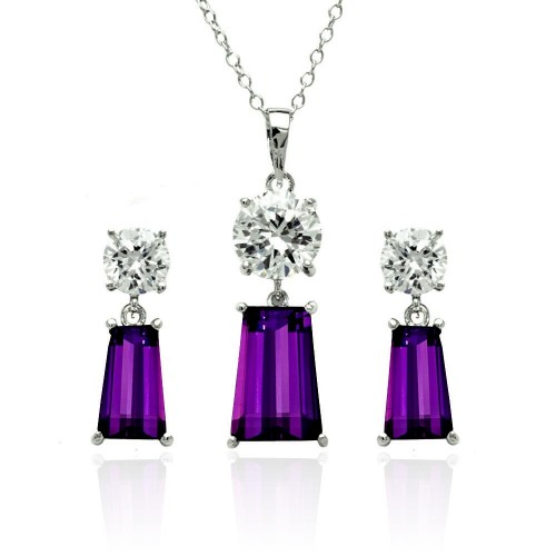 Wholesale Sterling Silver 925 Rhodium Plated Clear Round Purple Rectangular CZ Dangling Stud Earring and Dangling Necklace Set - BGS00361