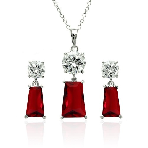 Wholesale Sterling Silver 925 Rhodium Plated Clear Round Red Rectangular CZ Dangling Stud Earring and Dangling Necklace Set - BGS00362