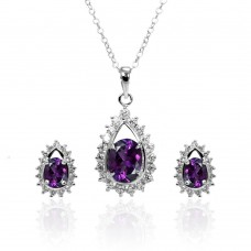 Wholesale Sterling Silver 925 Rhodium Plated Clear and Purple Teardrop Cluster CZ Stud Earring and Necklace Set - BGS00364