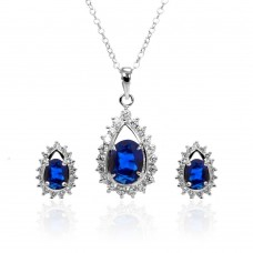 Wholesale Sterling Silver 925 Rhodium Plated Clear and Blue Teardrop Cluster CZ Stud Earring and Necklace Set - BGS00365