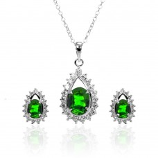 Wholesale Sterling Silver 925 Rhodium Plated Clear and Green Teardrop Cluster CZ Stud Earring and Necklace Set - BGS00366