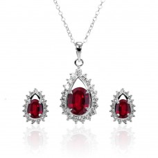 Wholesale Sterling Silver 925 Rhodium Plated Clear and Red Teardrop Cluster CZ Stud Earring and Necklace Set - BGS00367