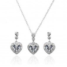 Wholesale Sterling Silver 925 Rhodium Plated Clear Round and Heart Shaped CZ Dangling Stud Earring and Necklace Set - BGS00368
