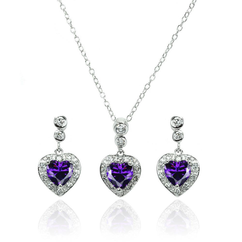 Wholesale Sterling Silver 925 Rhodium Plated Clear and Purple Heart CZ Dangling Stud Earring and Necklace Set - BGS00369