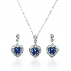Wholesale Sterling Silver 925 Rhodium Plated Clear and Blue Heart CZ Dangling Stud Earring and Necklace Set - BGS00370