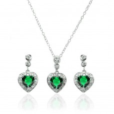 Wholesale Sterling Silver 925 Rhodium Plated Clear and Green Heart CZ Dangling Stud Earring and Necklace Set - BGS00371