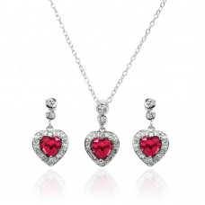 Wholesale Sterling Silver 925 Rhodium Plated Clear and Red Heart CZ Dangling Stud Earring and Necklace Set - BGS00372