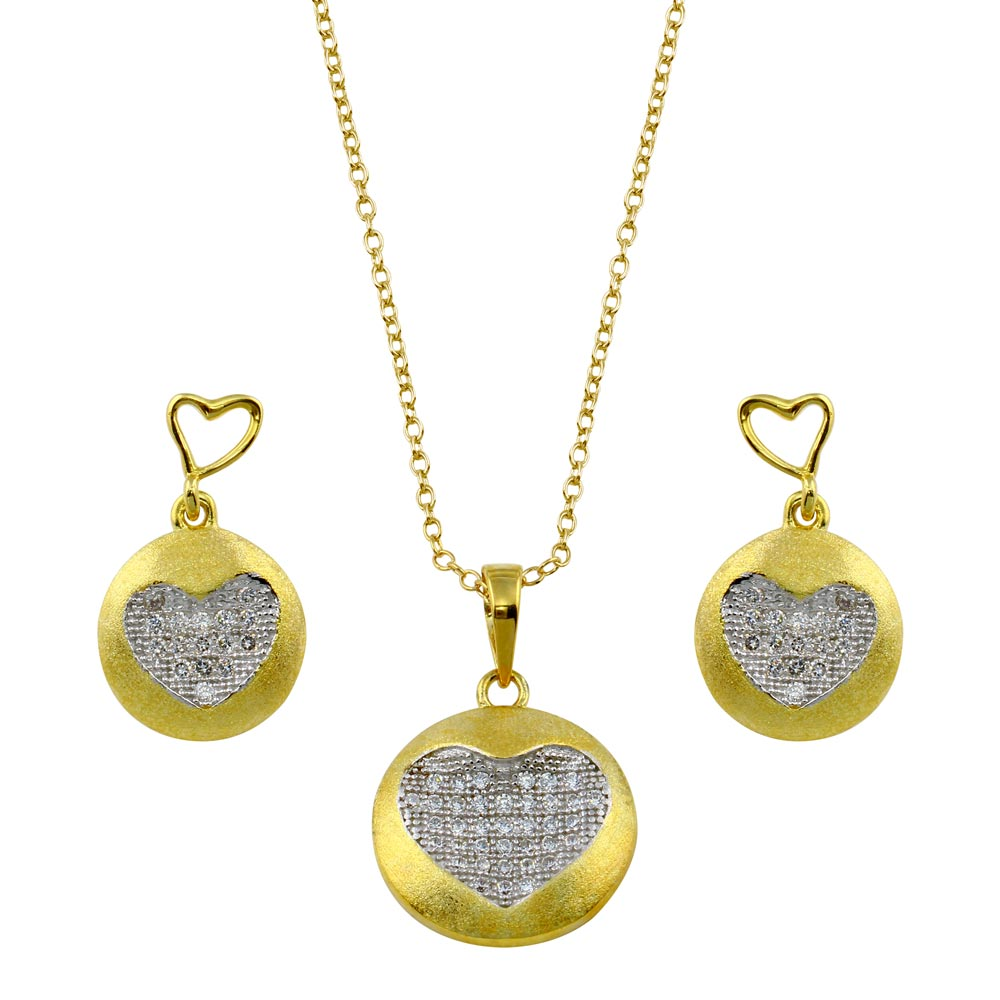 Wholesale Sterling Silver 925 Gold Plated Clear Heart Circle Disc CZ Set - BGS00374