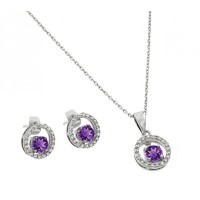 Wholesale Sterling Silver 925 Rhodium Plated Clear and Purple Round Open Circle CZ Stud Earring and Dangling Necklace Set - BGS00378