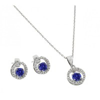 Wholesale Sterling Silver 925 Rhodium Plated Round Clear and Blue CZ Open Circle Stud Earring and Necklace Set - BGS00379