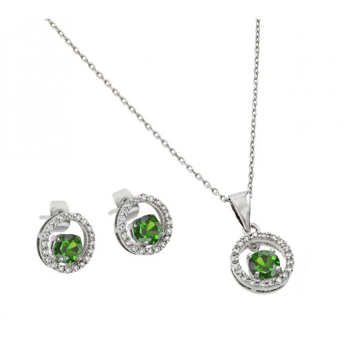 Wholesale Sterling Silver 925 Rhodium Plated Clear and Green Round Open Circle CZ Stud Earring and Dangling Necklace Set - BGS00380