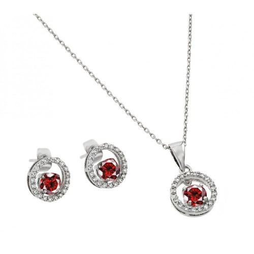 Wholesale Sterling Silver 925 Rhodium Plated Clear and Red Round Open Circle CZ Stud Earring and Dangling Necklace Set - BGS00381