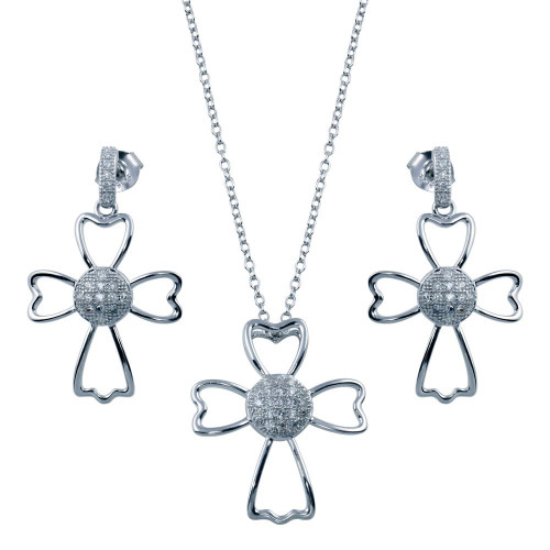 Wholesale Sterling Silver 925 Rhodium Plated Micro Pave Clear Cross Outline CZ Dangling Set - BGS00384