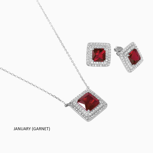 Wholesale Sterling Silver 925 Rhodium Plated Square CZ Cluster Birthstone Set - BGS00455