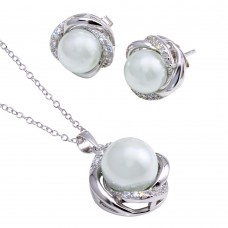 Wholesale Sterling Silver 925 Rhodium Plated Clear CZ White Pearl Set - BGS00458