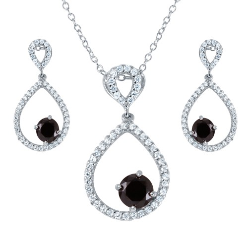 Wholesale Sterling Silver 925 Rhodium Plated Black and Clear CZ Open Teardrop Set - BGS00462