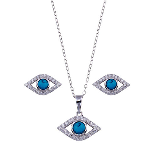 Wholesale Sterling Silver 925 Rhodium Plated Clear CZ Turquoise Evil Eye Set - BGS00513RHD