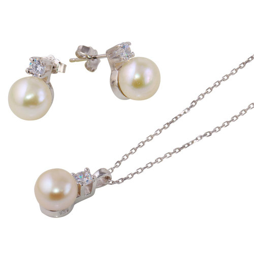 Wholesale Sterling Silver 925 Rhodium Plated Synthetic Pearl Earring and Necklace Set with CZ - BGS00530