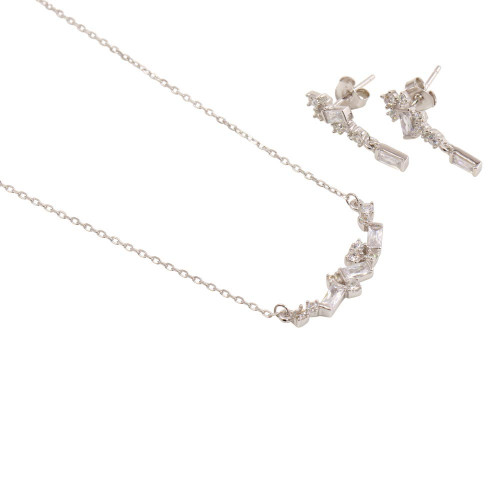 Wholesale Sterling Silver 925 Rhodium Plated CZ and Baguette Stone Necklace and Earrings Set - BGS00532