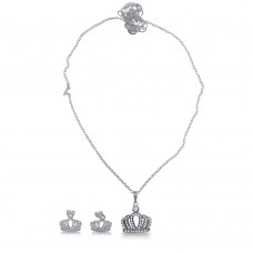 Sterling Silver Rhodium Plated Crown Necklace and Earrings Set with CZ - BGS00533