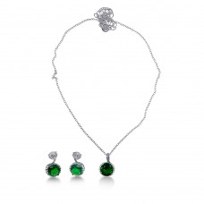 Sterling Silver Rhodium Plated Green CZ Earring and Necklace Set - BGS00534GRN